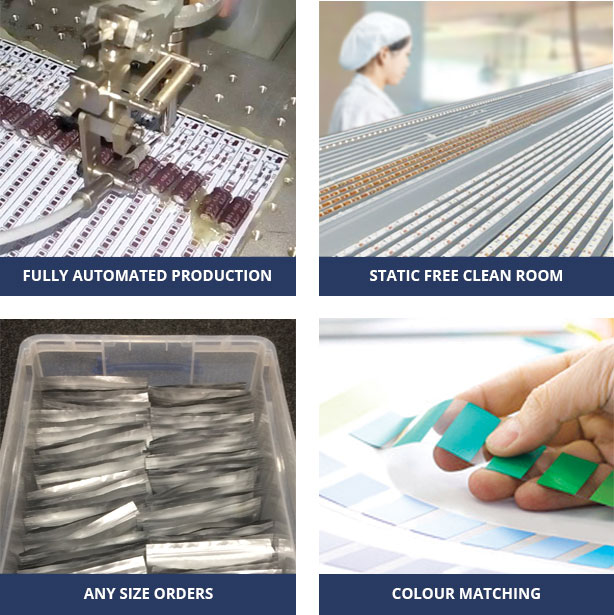 Fully automated production - Static free clean room - Any Size Orders - Colour matching