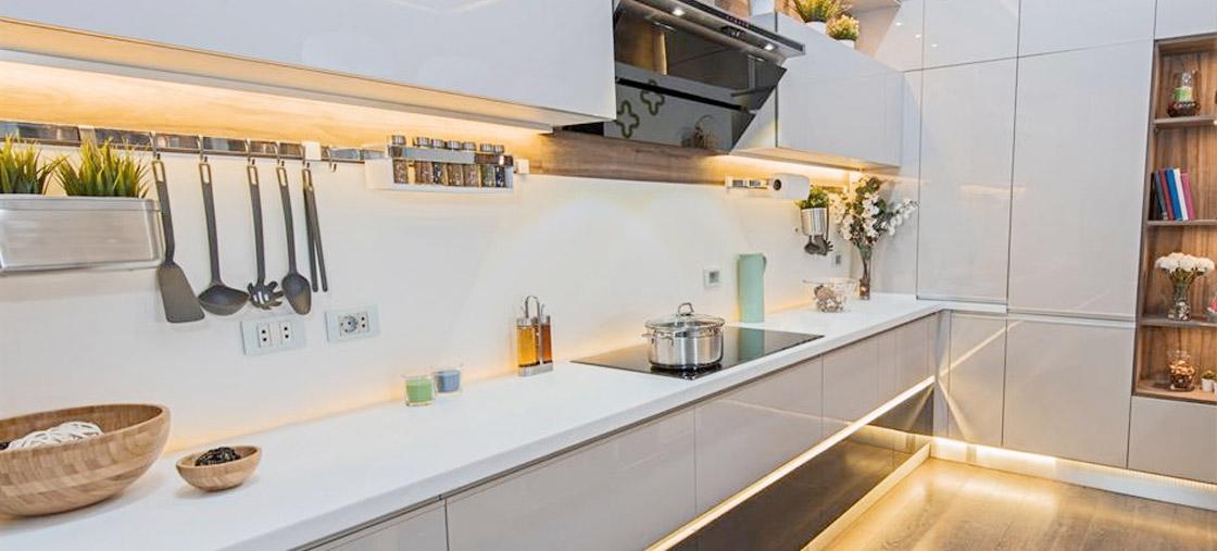 LED Strip lights in a kitchen